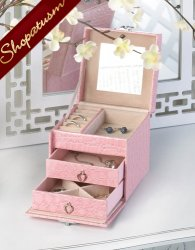 Stylish Pink Faux Snakeskin Jewelry Box