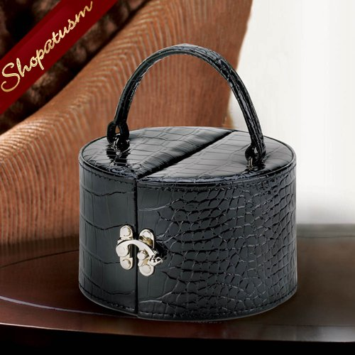 Image 1 of Stylish Glossy Black Faux Snakeskin Jewelry Box