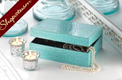 Saurian Storage Box Turquoise Faux Crocodile Jewelry Box