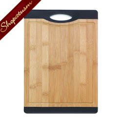 Bamboo Cutting Board With Black Grip Carving Board