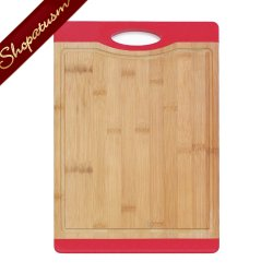 Bamboo Cutting Board With Red Grip Carving Board