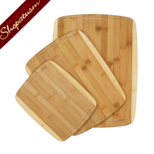 Bamboo Cutting Boards 3 Piece Set Carving Boards