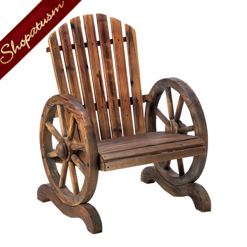 Image 1 of Country Style Garden Chair Wood Wagon Wheel Adirondack Chair