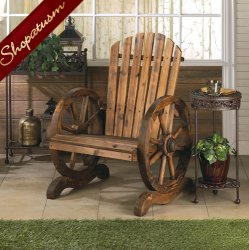 Country Style Garden Chair Wood Wagon Wheel Adirondack Chair