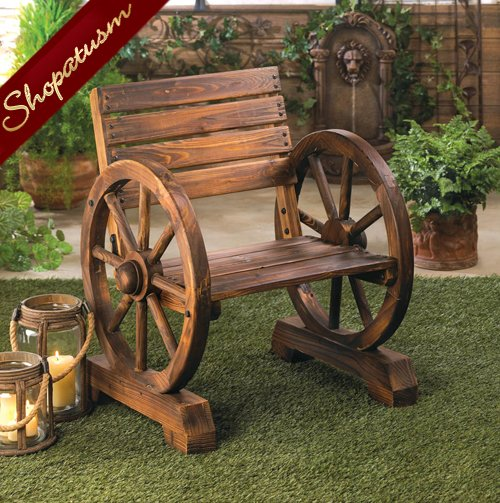 Country Charm Wagon Wheel Chair Wood Garden Chair