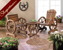 Country Style Wagon Wheel Table Rustic Wood Garden Table
