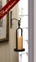 Dramatic Design Black Iron Hanging Hurricane Candle Lantern