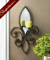 Fleur De Lis Mirrored Wall Sconce Dramatic Wall Centerpiece
