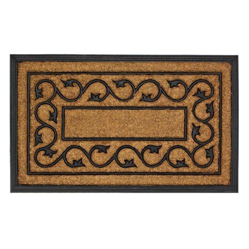 Ivy Vines Entry Mat Black Rubber & Coir Floor Mat