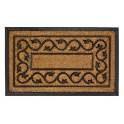 Ivy Vines Entry Mat Black Rubber & Coir Floor Mat