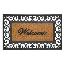 Fleur De Lis Framed Welcome Mat Front Door Floor Mat