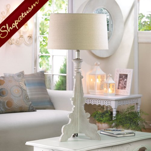 French Country Baroque Style Table Lamp With Hemp Shade