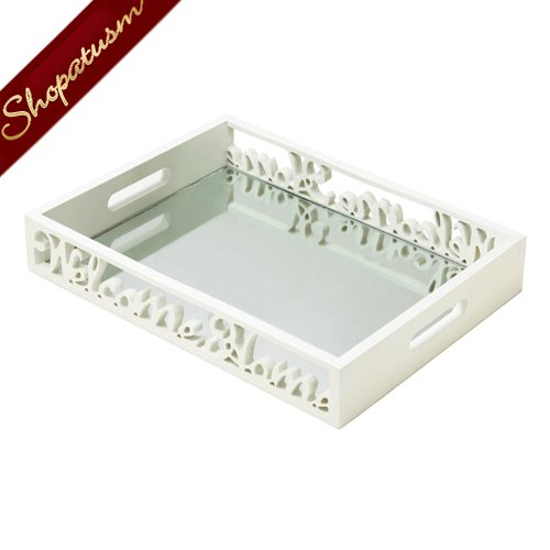 Image 1 of Welcome Home Serving Tray, White Wood Tray with Mirror