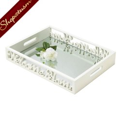 Welcome Home Serving Tray, White Wood Tray with Mirror
