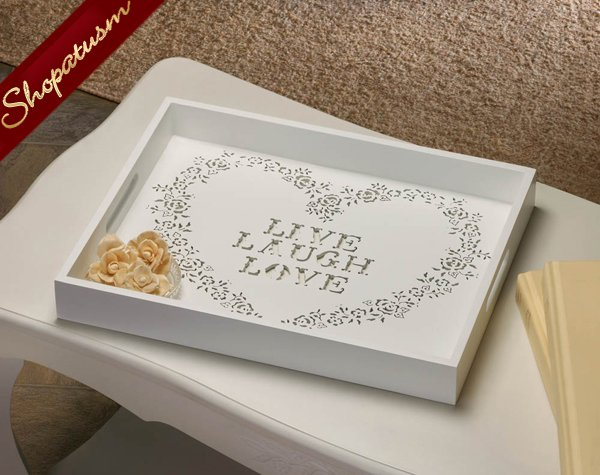 Live, Laugh, Love Serving Tray, White Floral Stenciled Heart Tray, Wood Tray