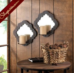 Mirrored Wall Sconces, Wood & Mirror Wall Sconces, Damask Wall Decor