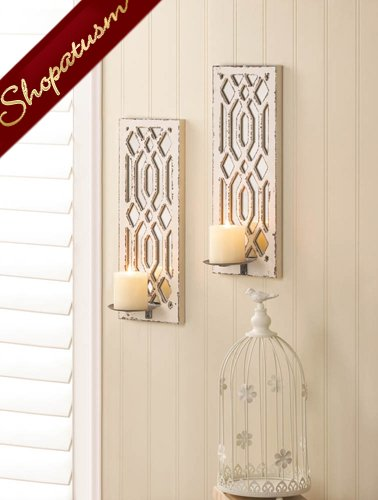 Mirrored Wall Sconce Set, Shabby Distressed White Wall Sconces, Deco Wall Decor