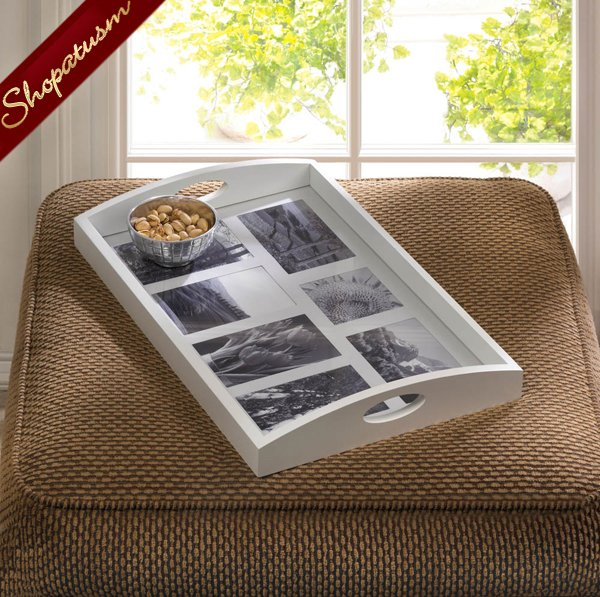 Photo frame Serving Tray, White Wood Serving Tray, Wooden Photo Tray