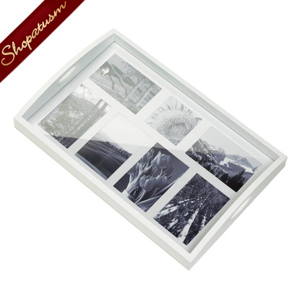 Image 1 of Photo Frame White Wooden Serving Tray With Handles