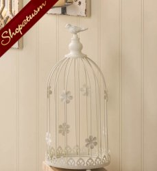 Birdcage Centerpiece, Ivory Birdcage Candle Holder, Ivory Birdcage Centerpiece