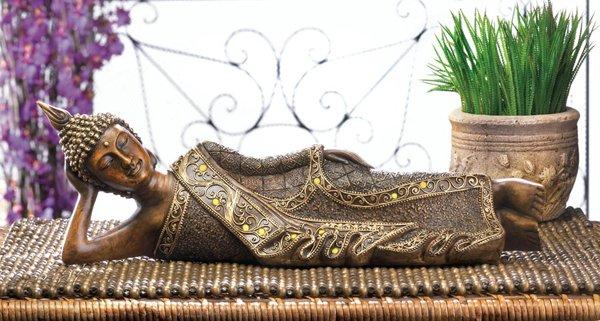 Lounging Buddha Statue, Decorative Buddha Statue, Buddha with Robe and Headdress