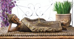 Lounging Buddha Statue, Decorative Buddha Statue, Buddha with Robe and Headdress