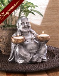 Laughing Buddha Tealight Candle Holder Bronze Centerpiece