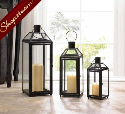 12 Classic Lanterns, Flint Small Black Lanterns, Wedding Centerpieces