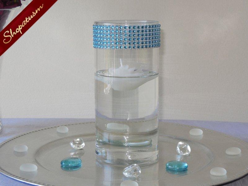 10 Teal Rhinestone Cylinder Vases Bling Candle Holders