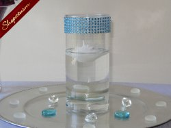 12 Teal Rhinestone Cylinder Vases, Bling Candle Holders, Floating Candle Vases