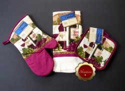 Wine Themed Cotton Oven Mitt Microfiber Kitchen Towel Pot Holders