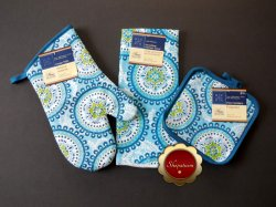 Blue Trendy Themed Cotton Oven Mitt, Microfiber Kitchen Towel, Pot Holders