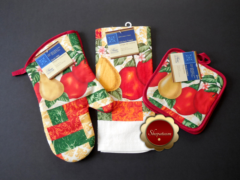 Fruit Themed Cotton Oven Mitt, Microfiber Kitchen Towel, Pot Holders