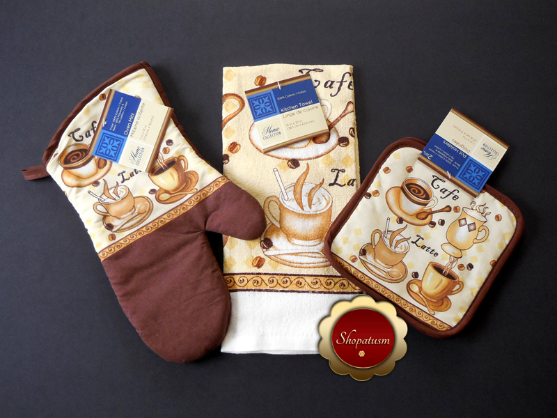 Cafe Latte Themed Cotton Oven Mitt, Microfiber Kitchen Towel, Pot Holders