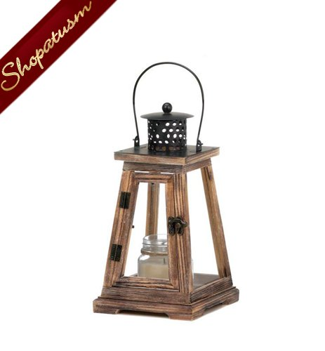Image 1 of 12 Rustic Lanterns, Small Pyramid Lanterns, Rustic Wood Wedding Lanterns