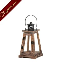 12 Rustic Lanterns, Small Pyramid Lanterns, Rustic Wood Wedding Lanterns