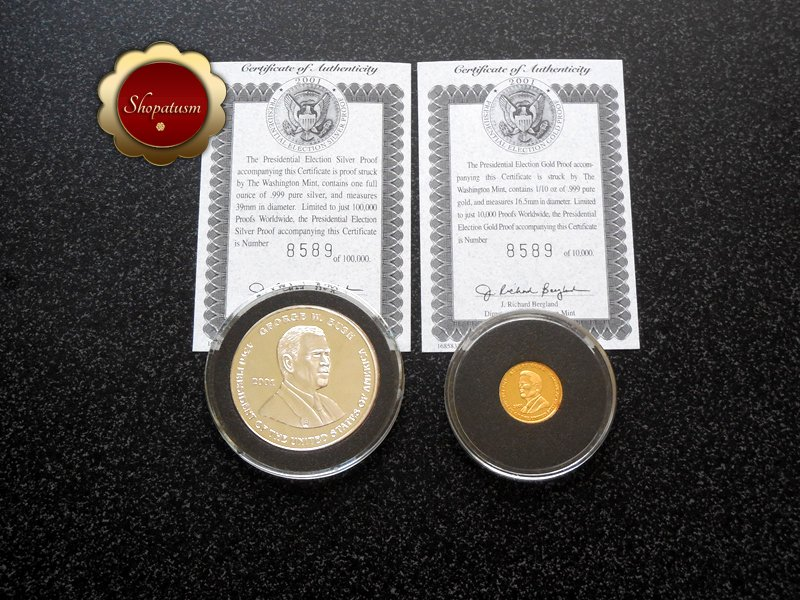 Rare 2001 .999 Gold & Silver Proof Presidential Election Al Gore George Bush COA