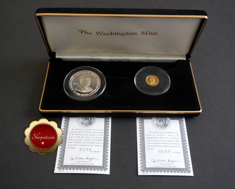 Image 1 of Rare 2001 .999 Gold & Silver Proof Presidential Election Al Gore George Bush COA