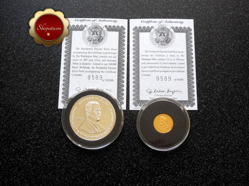 Image 2 of Rare 2001 .999 Gold & Silver Proof Presidential Election Al Gore George Bush COA