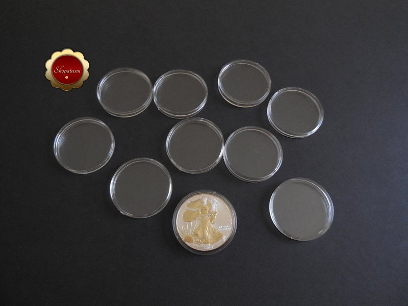 10 Clear Plastic Coin Holders, 40mm Coin Capsules For American Silver Eagles
