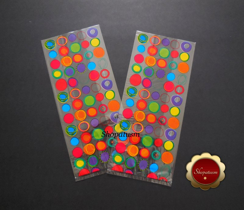 25 Cello Favor Bags, Retro, Circles Birthday Favor Holders, Cello Candy Bags