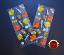 25 Cello Favor Bags, Party Favor Bag, Sports Design, Baseball, Basketball, Cello