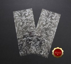 25 Cello Favor Bags, Party Favor Bags, Metallic Silver Vines, Wedding Favor