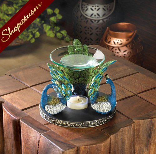 Peacock Plume Oil Warmer, Tea Light Oil Warmer, Peacock Decor