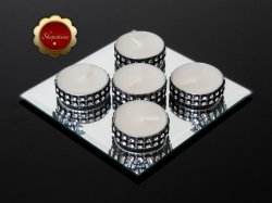 25 Bling Black-Silver Tea Light Candles, Silver Rhinestone Candles