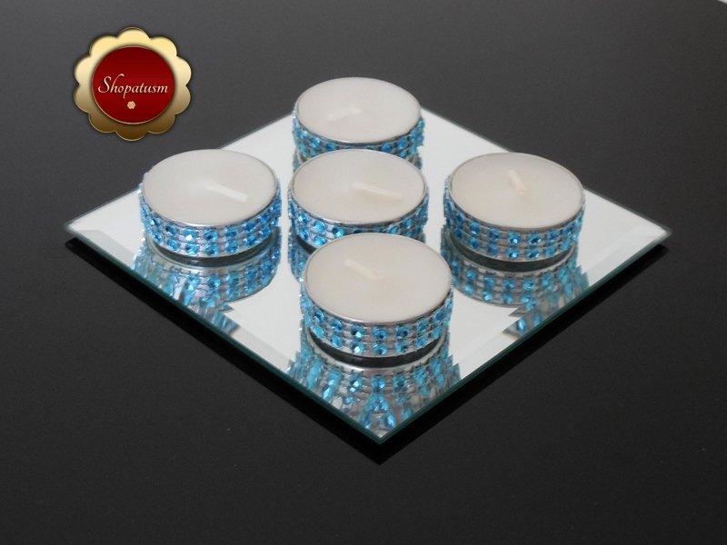 25 Bling Light Blue Tea Light Candles, Blue Rhinestone Candles, Wedding Candles
