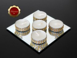 25 Bling Gold Tea Light Candles, Gold Rhinestone Candles, Wedding Candles