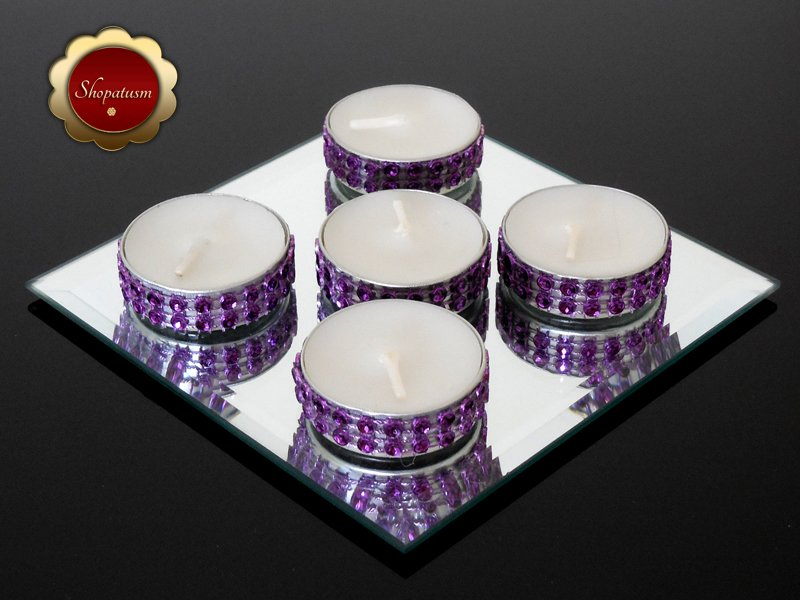 25 Bling Purple Tealight Candles, Rhinestone Candles, Wedding Candles