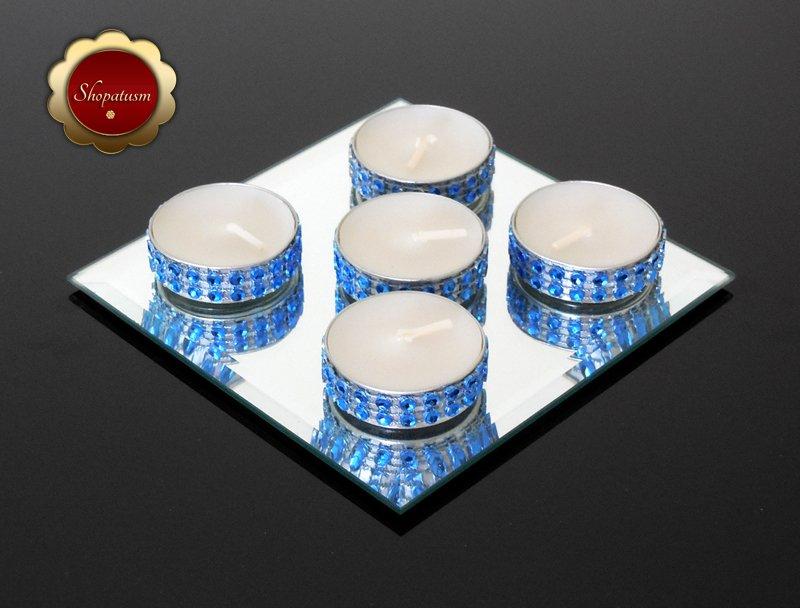 25 Bling Royal Blue Tea Light Candles, Rhinestone Candles, Wedding Candles