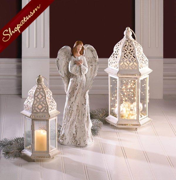 24 Large Distressed White Lantern, Shabby Candle Lantern, Vintage White Lantern